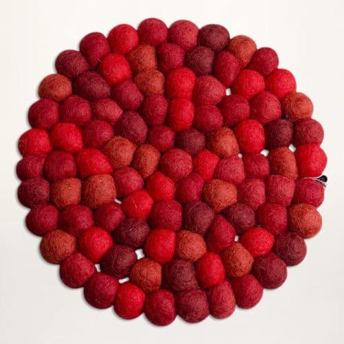 20 cm rote filzkugel Topfuntersetzer von Una LIVING